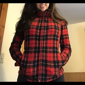 Uniqlo red plaid zip-up fleece, size small